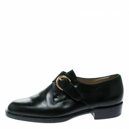 Bally Black Leather Monk Strap Flats Size 37 176691