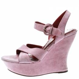 Saint Laurent Light Pink Suede Cross Strap Platform Wedge Sandals Size 39 177065