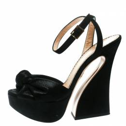 Charlotte Olympia Black Suede Vreeland Ankle Strap Platform Sandals Size 37.5 177130