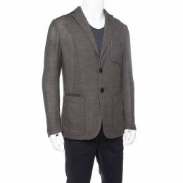 Berluti Moss Green Wool and Silk Blend Wicker Weave Blazer L 176956