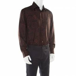Brioni Brown Paisley Printed Silk Button Front Shirt L 176727