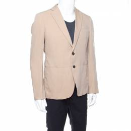 Armani Collezioni Beige Herringbone Linen Wool Tailored Blazer L 176918