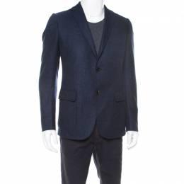 Gucci Nautical Blue Cashmere Patch Pocket Detail Tailored Blazer L 176888