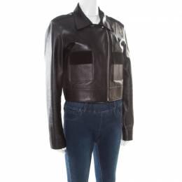 Balenciaga Black Lamb and Calf Leather Zip Front Cropped Biker Jacket M 178023