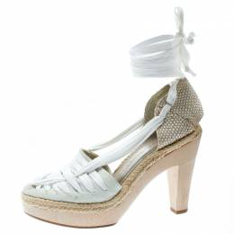 Stella McCartney White Canvas Espadrille Trim Tie Up Block Heel Sandals Size 38 177282