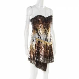 Roberto Cavalli Multicolor Sequin Embellished Strapless Bustier Dress M 177432