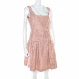 Red Valentino Pink and White Textured Drop Waist Sleeveless Dress M 177887