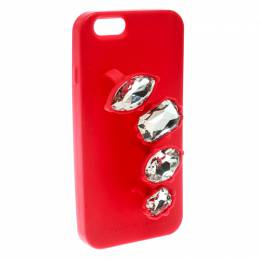 Stella McCartney Red Rubber Crystal Four Finger Ring iPhone 6 Case 177415
