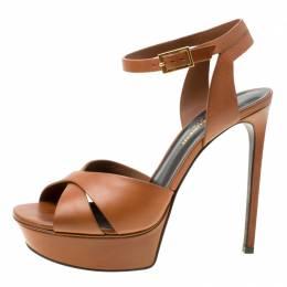 Saint Laurent Brown Leather Bianca Platform Sandals Size 38.5 178092