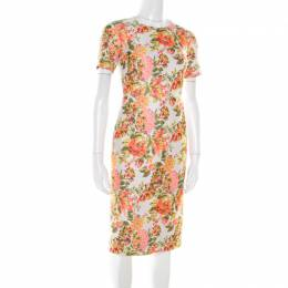 Stella McCartney Metallic Neon Floral Jacquard Ridley Sheath Dress XS 178188