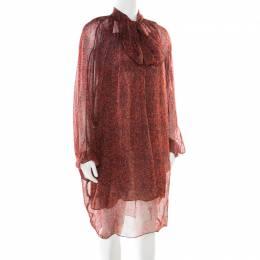 Yves Saint Laurent Red Printed Silk Chiffon Neck Tie Detail Long Sleeve Dress L 178399