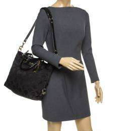 Coach Black Signature Fabric and Leather Ashley Top Handle Bag 178095