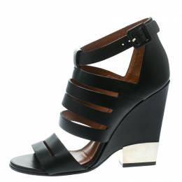 Givenchy Black Leather Wedge Sandals Size 35 178462