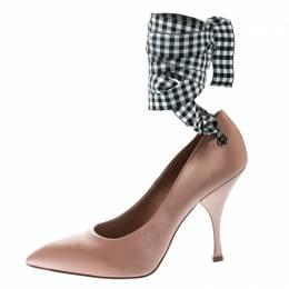 Miu Miu Beige Satin Ankle Wrap Pointed Toe Pumps Size 39 178637