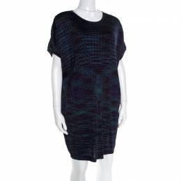 M Missoni Multicolor Fleece Wool Blend Dolman Sleeve Shift Dress L 179526