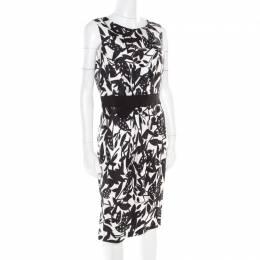 Paule Ka Monochrome Printed Silk Bow Detail Sleeveless Dress M 180280