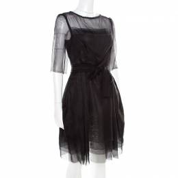 Lanvin Black Silk Organza Raw Edge Detail Sheer Yoke Layered Dress S 178469