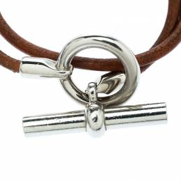 Hermes Glenan Brown Leather Double Wrap Toggle Bracelet 178677