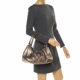 Prada Metallic Grey Leather Shoulder Bag 178872
