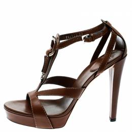 Gucci Brown Leather Icon Bit Ankle Strap Platform Sandals Size 37 179519