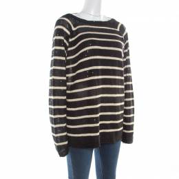 Brunello Cucinelli Black Linen Silk Sequin Embellished Striped Sweater XXL