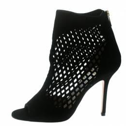Jimmy Choo Black Suede Lasercut Peep Toe Ankle Boots Size 38.5 178732