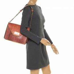 Chloe Red/Brown Python Medium Sally Flap Shoulder Bag