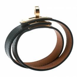 Hermes Kelly Double Tour Black Leather Gold Plated Wrap Bracelet M 178725