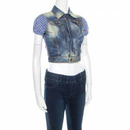 Dsquared2 Indigo Distressed Faded Effect Contrast Sleeve Cropped Denim Vest S 178724