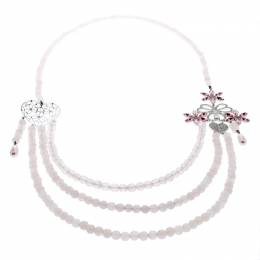 Dior Pink Crystal Heart Flower Motif Rose Quartz Beads Multistrand Necklace 180314