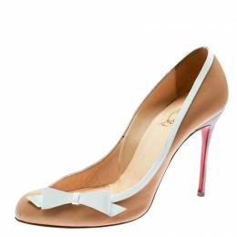 Christian Louboutin Beige/White Leather Beauty Pumps Size 38.5 178970