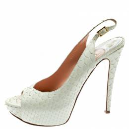 Gina White Python Embossed Leather Peep Toe Platform Slingback Sandals Size 40 179564