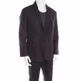John Varvatos Dark Grey Houndstooth Patterned Linen Cotton Blazer XL 179940
