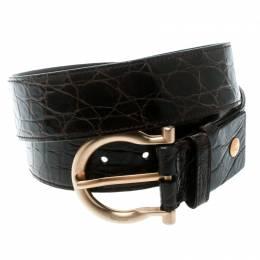 Salvatore Ferragamo Brown Croc Embossed Leather Belt Size 95 CM 178561