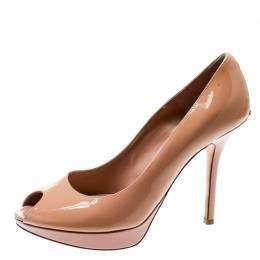 Dior Beige Patent Leather Miss Dior Peep Toe Platform Pumps Size 38.5 178786