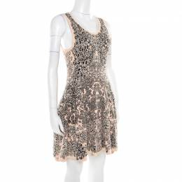 Alexander McQueen Bicolor Jacquard Knit Sleeveless Fit and Flare Dress M