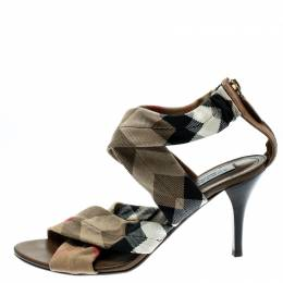 Burberry Beige Nova Check Canvas Cross Straps Platform Sandals Size 40 227492