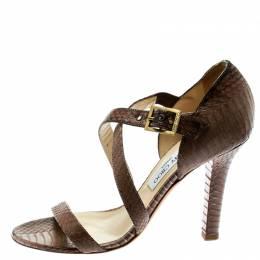 Jimmy Choo Brown Python Leather Cross Strap Block Heel Sandals Size 39 178947