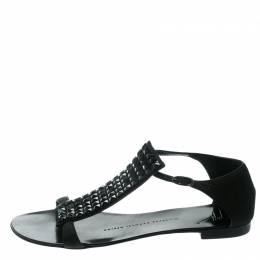 Giuseppe Zanotti Design Black Nubuck Leather Studded Flat Sandals Size 35 178546