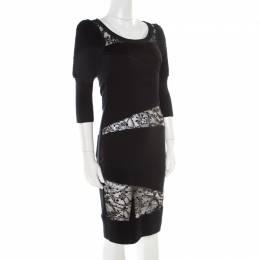 Sonia Rykiel Green and Black Lace Paneled Textured Sleeve Detail Sheath Dress S 178444