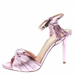 Charlotte Olympia Metallic Pink Ruched Leather Broadway Ankle Strap Sandals Size 37 178334