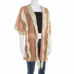 M Missoni Burnt Orange Chevron Pattern Knit Ruffled Cardigan L 179552