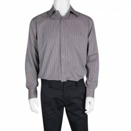 Gucci Grey Striped Cotton Long Sleeve Button Front Shirt XL 138218