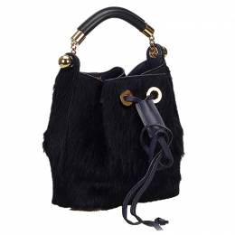 Chloe Black Fur/Leather Small Gala Bucket Bag