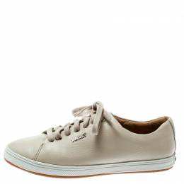 Bally Beige Leather Lace Up Sneakers Size 35 179957