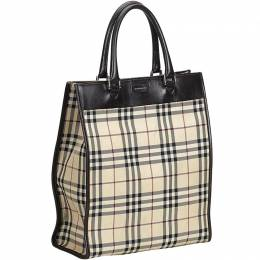 Burberry Brown Plaid Coated Canvas Tote Bag