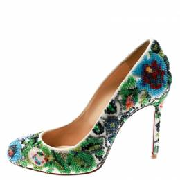 Christian Louboutin Multicolor Hand Beaded Satin Sissi Pumps Size 36.5 180476