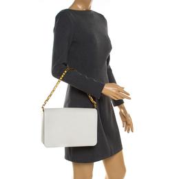 Saint Laurent Paris White Chevron Leather Babylone Chain Bag Yves Saint Laurent 180748