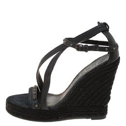 Burberry Black Denim Studded Espadrille Wedge Sandals Size 38 181454