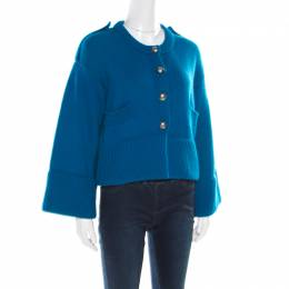 Burberry London Blue Cashmere Cropped Logo Button Cardigan S 181208